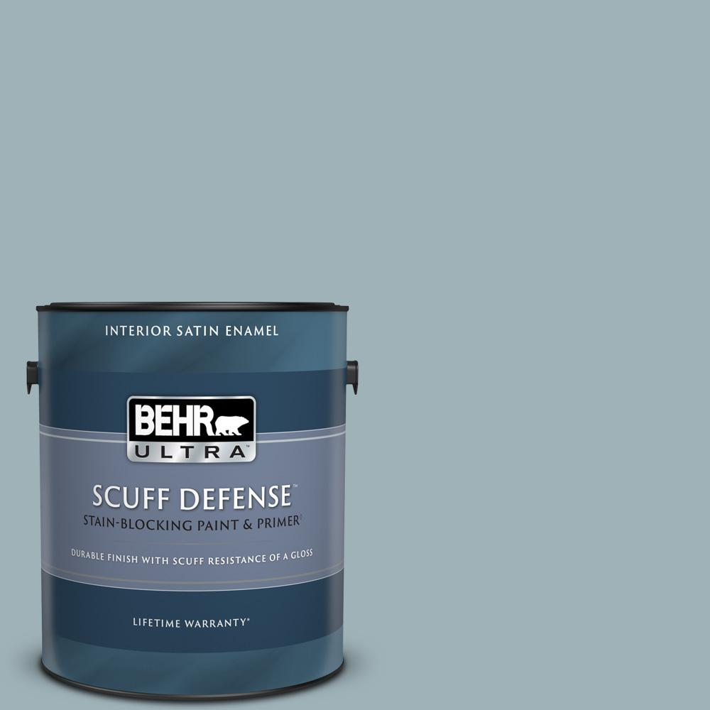 Behr Ultra 1 Gal 540e 3 Blue Fox Extra Durable Satin Enamel Interior Paint And Primer In One 775401 The Home Depot