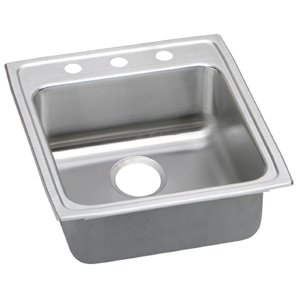 Lustertone Drop-In Stainless Steel 20 in. 3-Hole Single Bowl Kitchen Sink