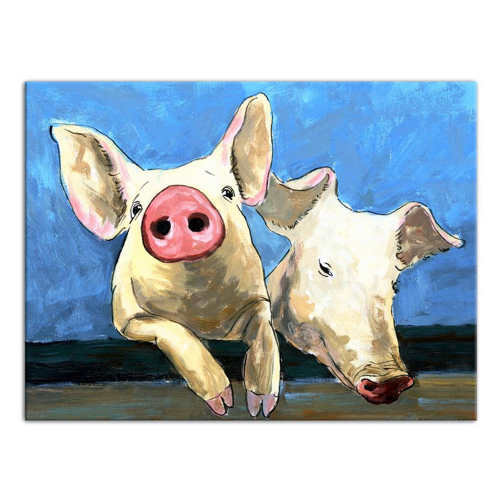 12 in. x 16 in. ''Just Pigging Out'' Printed Canvas Wall