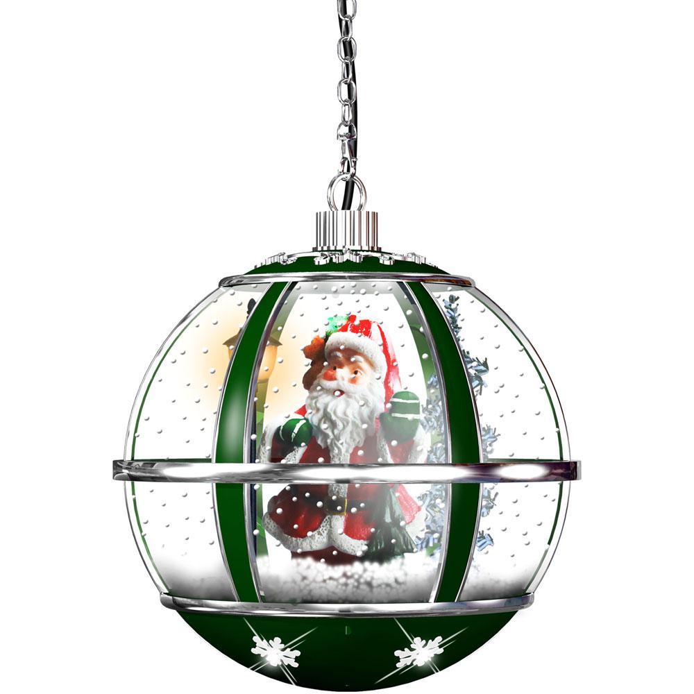 13 in. Hanging Musical Globe in Green Featuring Santa Scene and