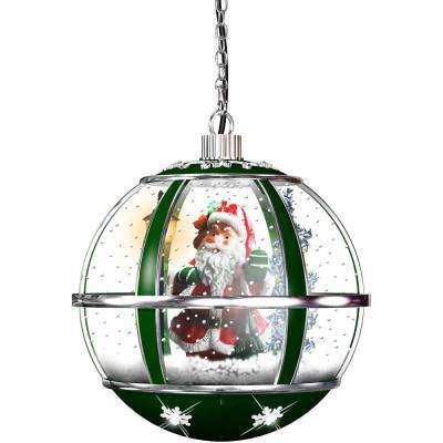 13 in. Hanging Musical Globe in Green Featuring Santa Scene and Snow Function
