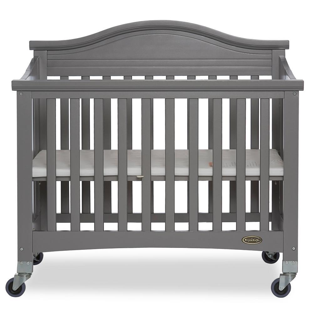 Dream On Me Venice Steel Grey Folding Portable Crib