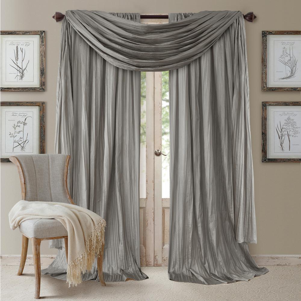 Elrene Athena Faux Silk Window Curtain And Scarf Set