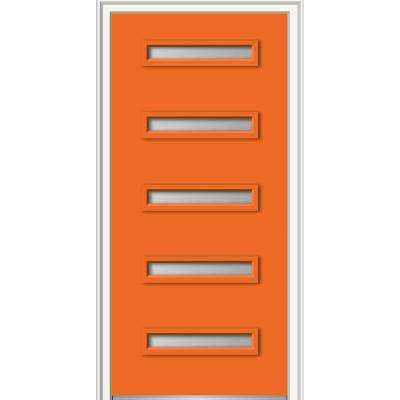 32 in. x 80 in. Davina Right-Hand Inswing 5-Lite Frosted Painted Fiberglass Smooth Prehung Front Door, 4-9/16 in. Frame