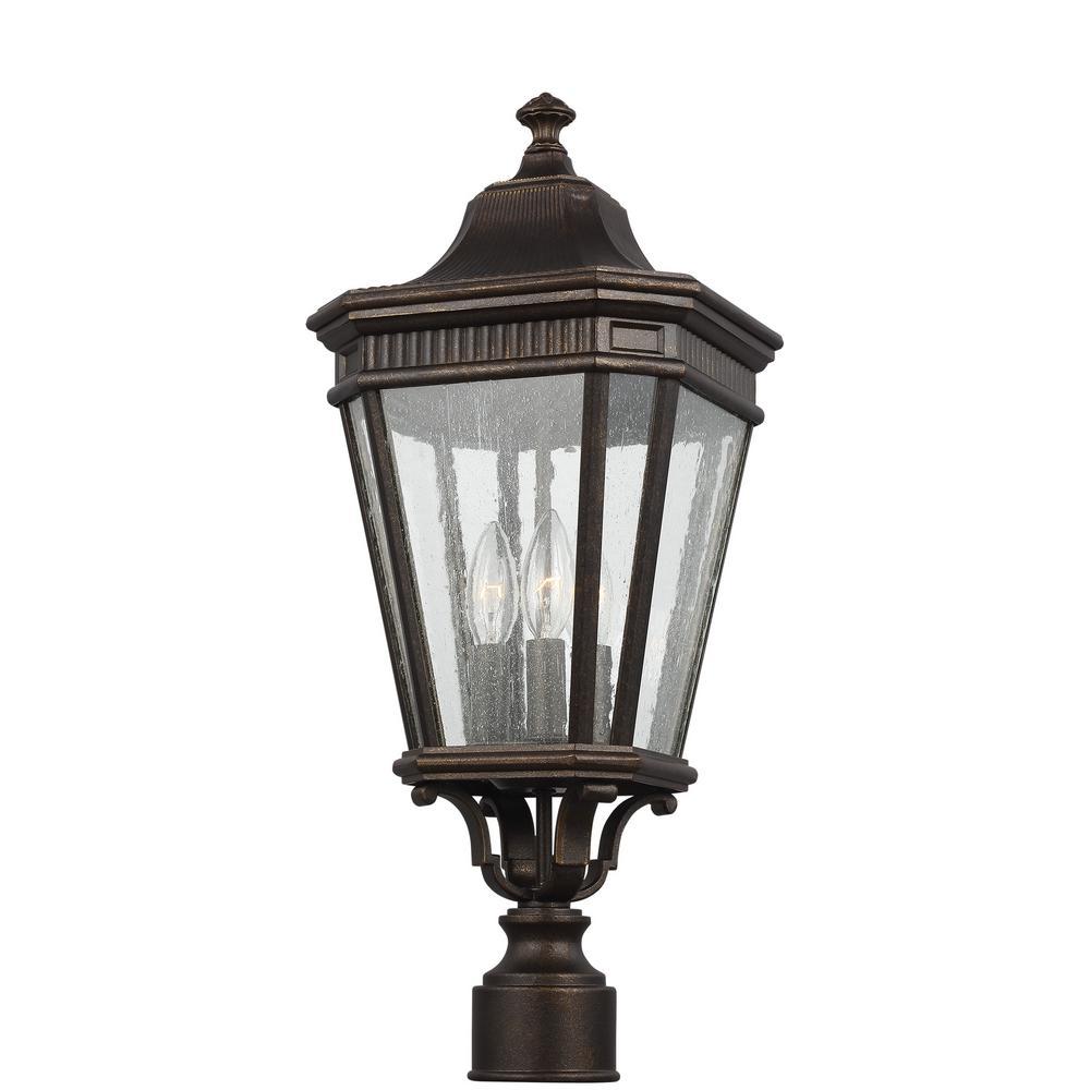 Feiss Cotswold Lane 3-Light Outdoor Grecian Bronze Post Light