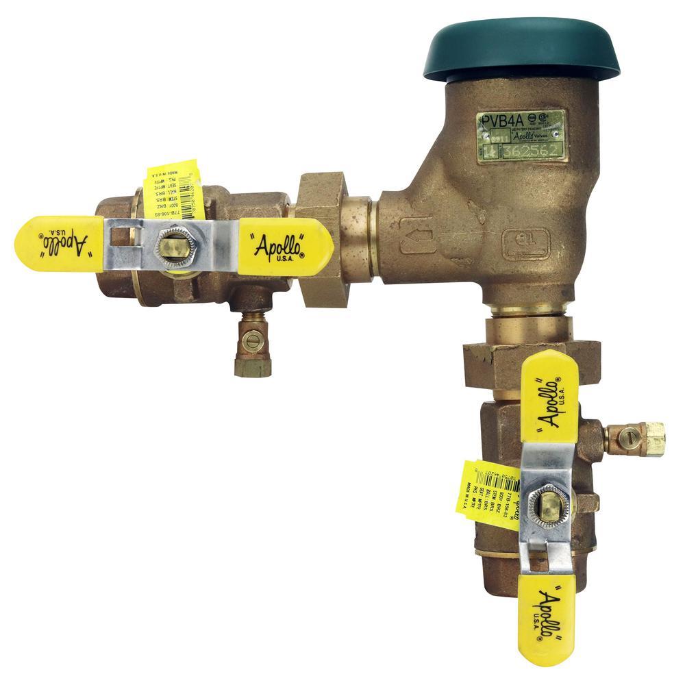 1-1/4 in. Bronze FIP Pressure Vacuum Breaker with Union Shut-Off Valves