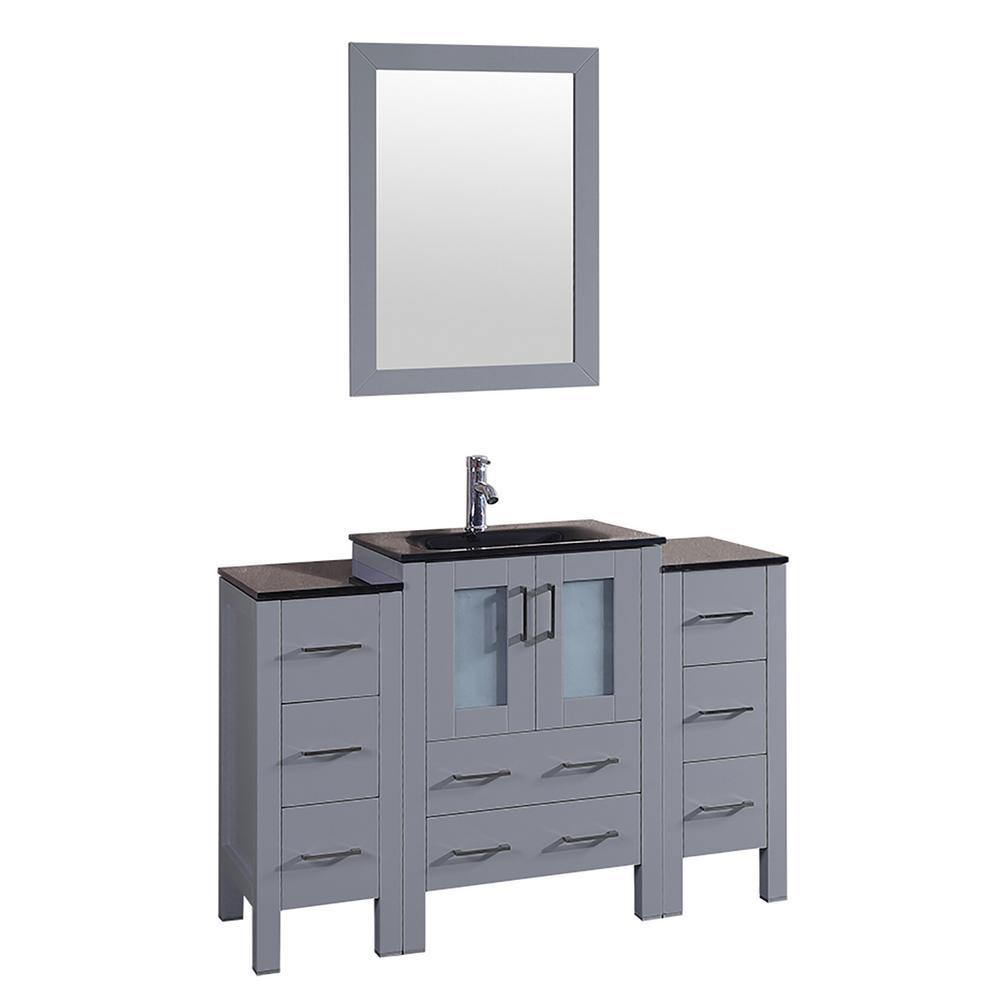 Bosconi Bosconi 48 in. Single Vanity in Gray with Vanity Top in Black, Black Basin and Mirror