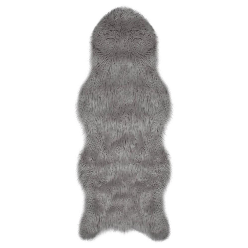 Jean Pierre Faux-Fur Light Grey 5 ft. x 2 ft. Area Rug ...