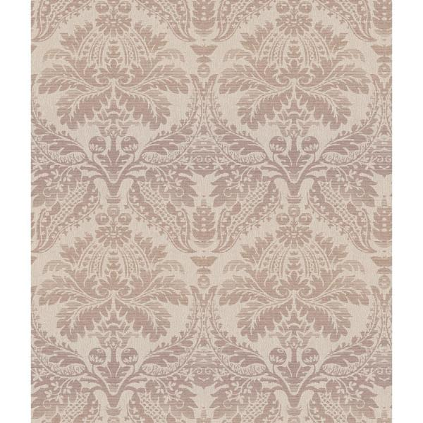 York Wallcoverings Taupe Grasscloth Strippable Non Woven: York Wallcoverings Delia Damask Raised Print Wallpaper