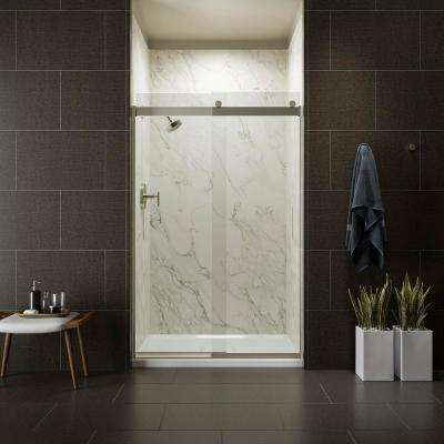 Levity 48 in. x 74 in. Semi-Frameless Sliding Shower Door in Nickel with Handle