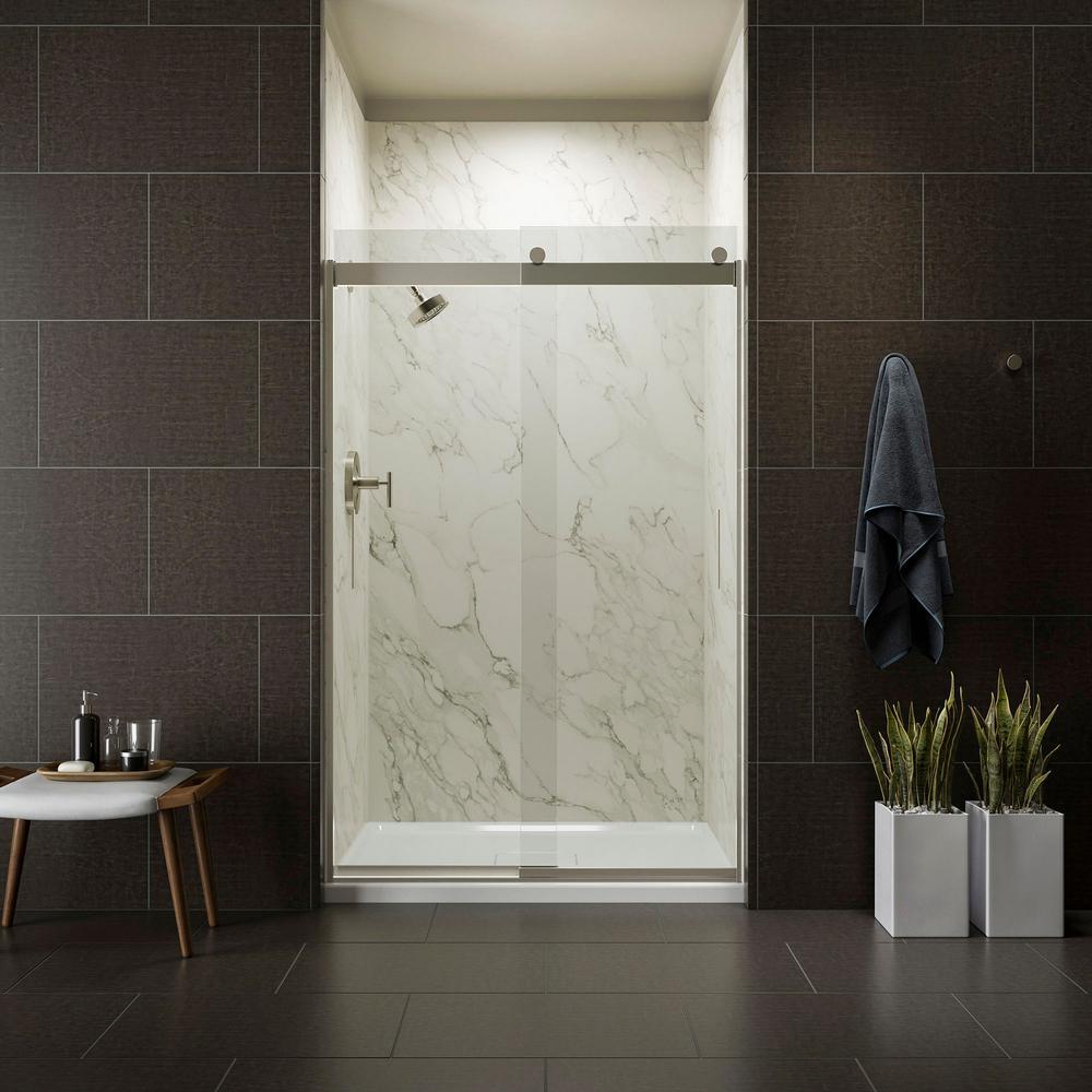 KOHLER Levity 48 in. x 74 in. Semi-Frameless Sliding Shower Door in Nickel with Handle