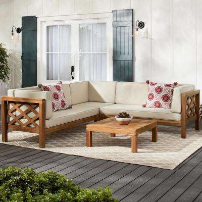 Willow Glen Farmhouse Teak Wood Outdoor Patio Sectional Sofa with Beige Cushions and Coffee Table