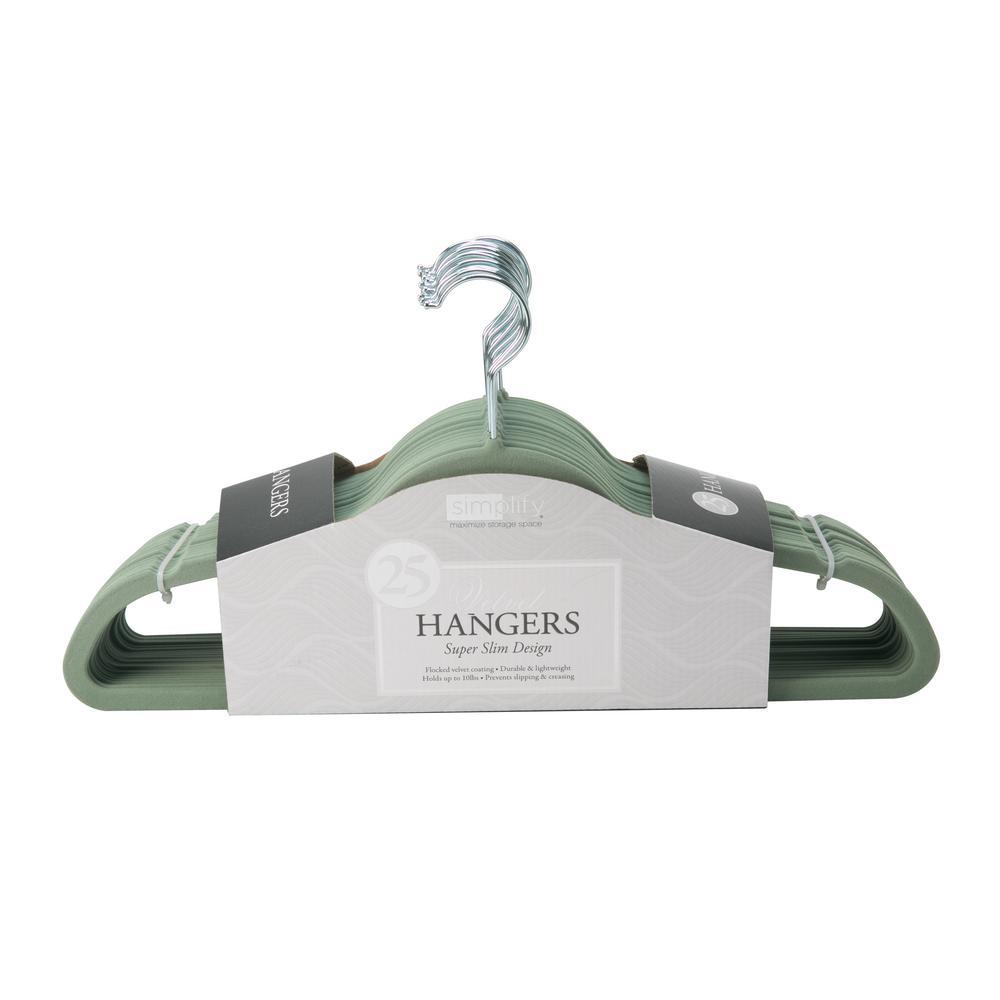 Slim Sage Velvet Suit Hanger (25-Pack)