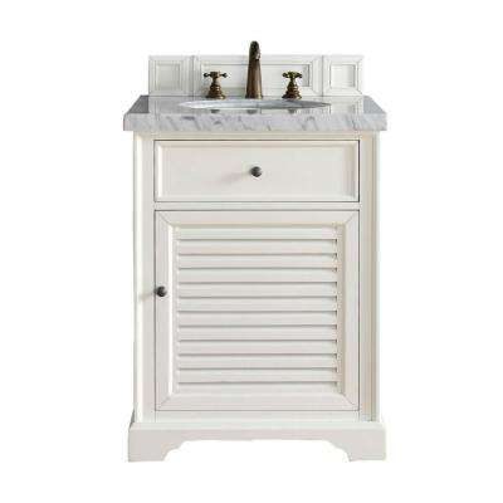 Savannah 26 in. W Single Vanity in Cottage White with Marble Vanity Top in Carrara White with White Basin