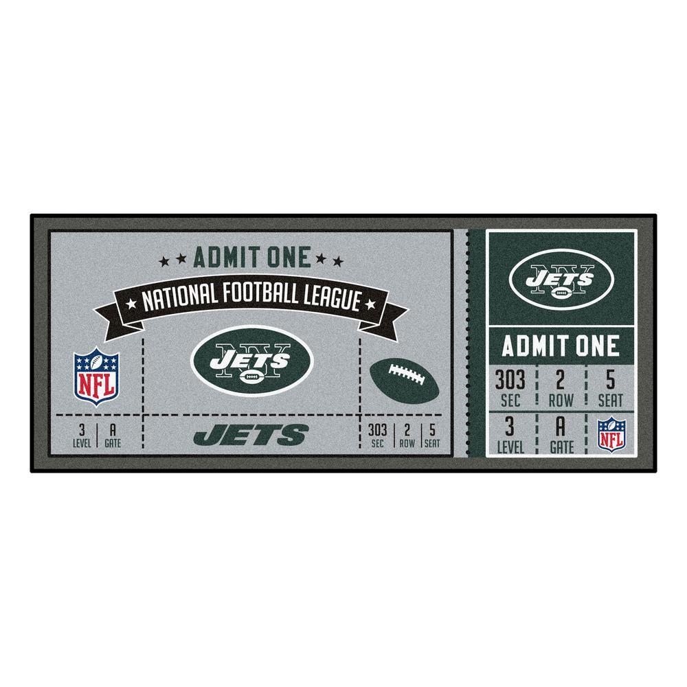 NFL - New York Jets 30 in. x 72 in. Indoor Ticket Runner Rug