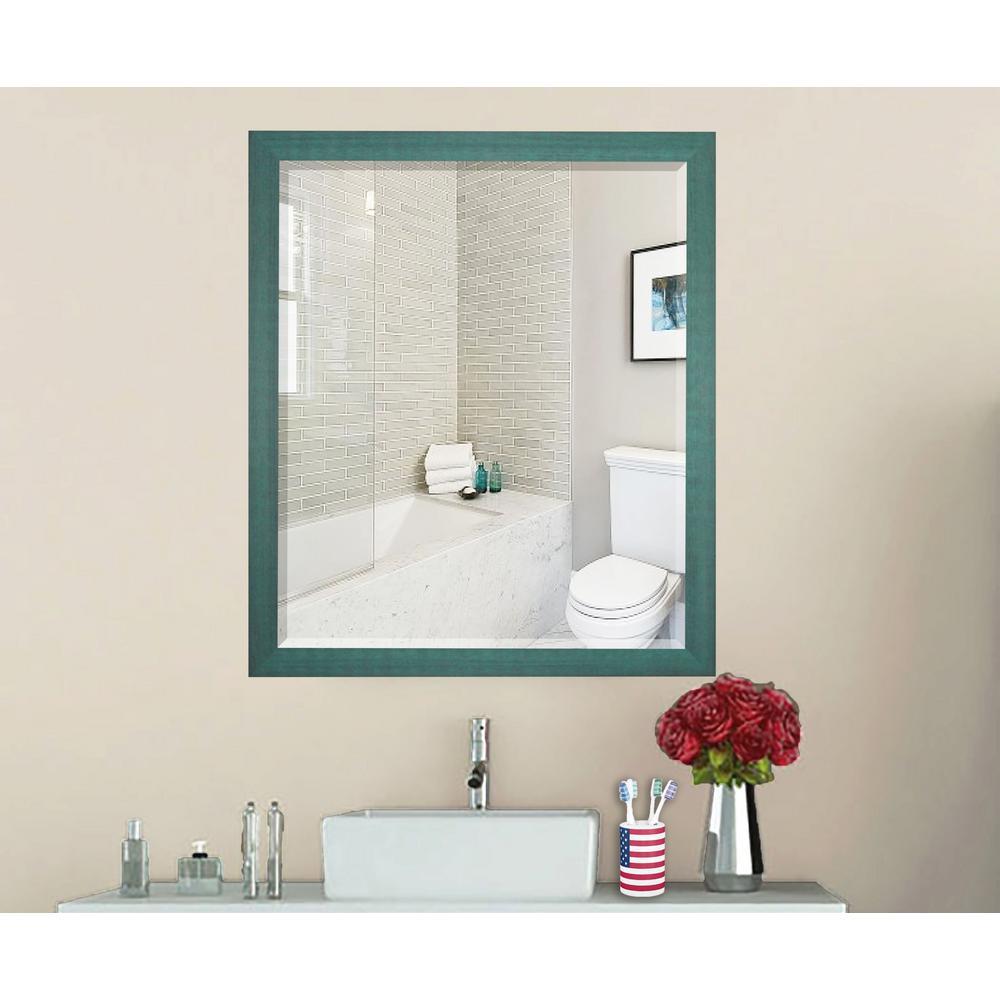 Country Cottage Aqua Framed Beveled Mirror
