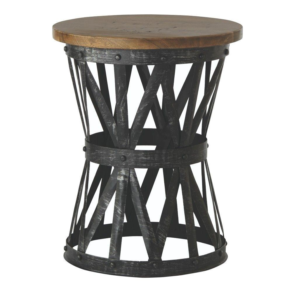 Home Decorators Collection Jake Antique Natural Side Table