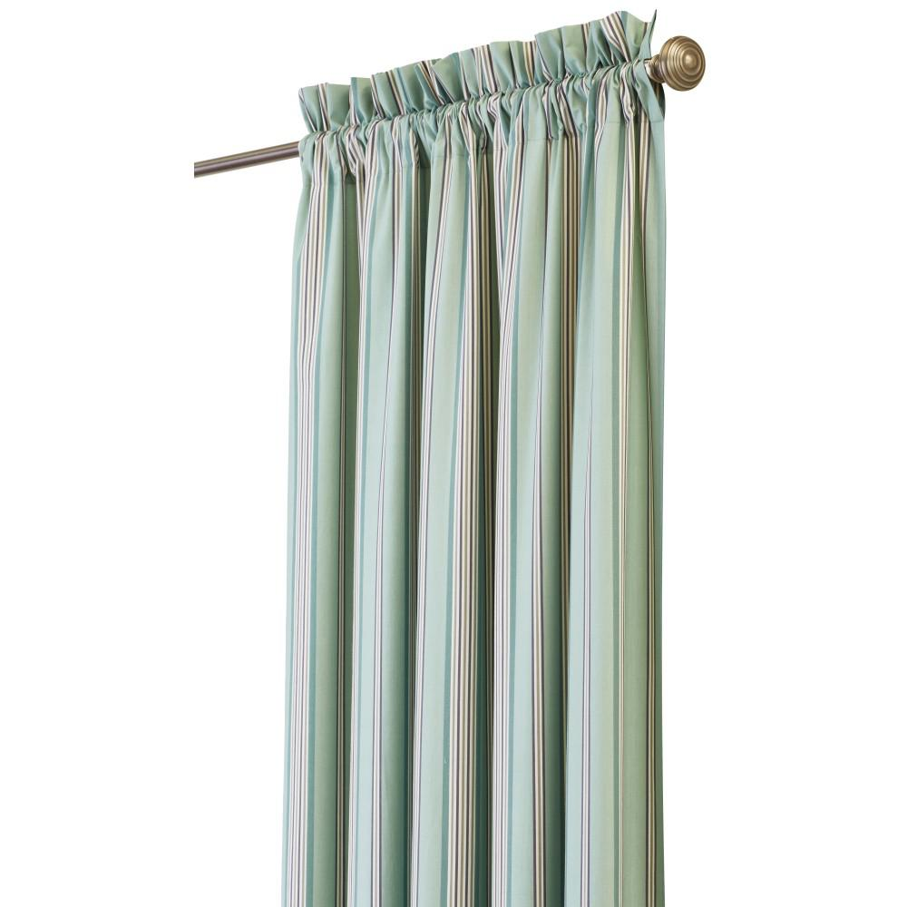 Home Decorators Collection Semi-Opaque Nuri 96 in. L Cotton Stripe Drapery Panel in Blue Haze