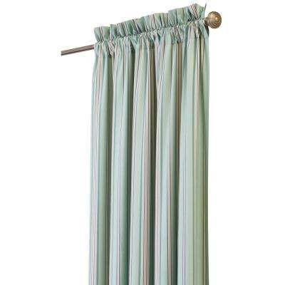 Semi-Opaque Nuri 108 in. L Cotton Stripe Drapery Panel in Blue Haze
