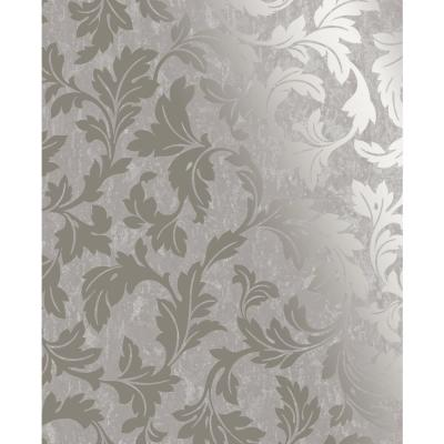 Milan Scroll Taupe and Gold Removable Wallpaper