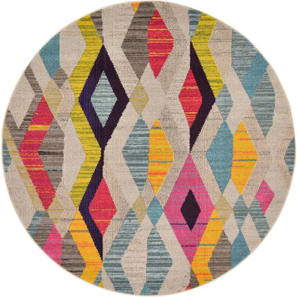 Unique Loom Sedona Multi 6 Ft X 6 Ft Round Area Rug