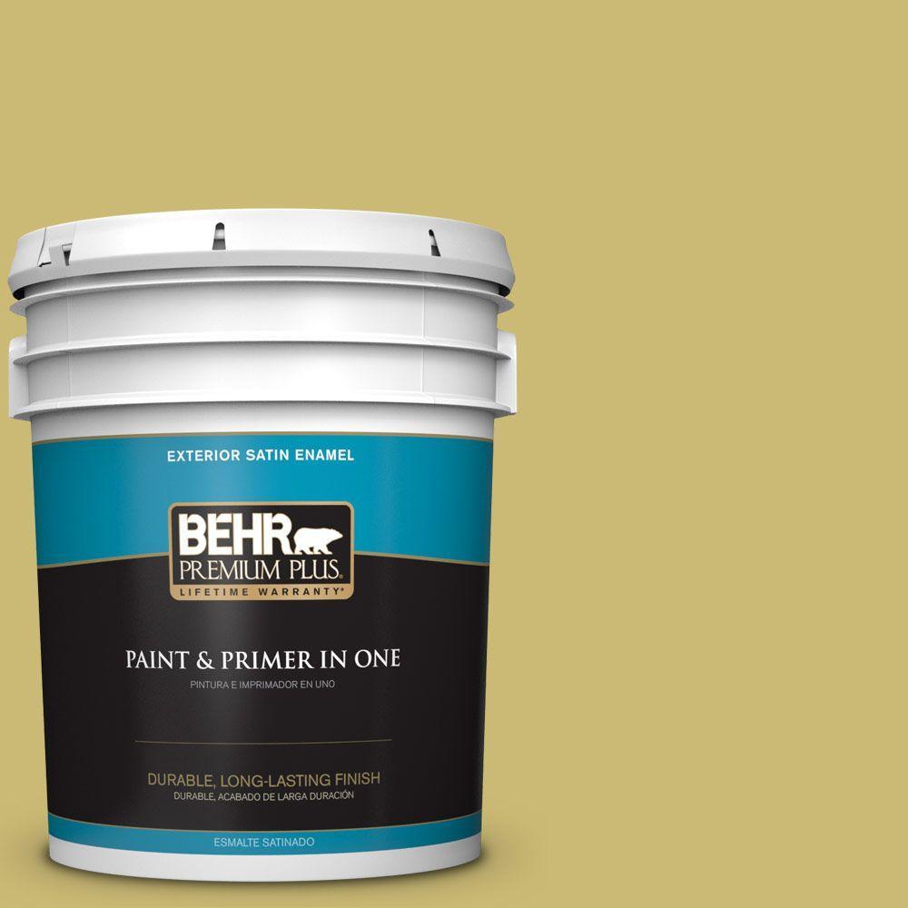 5 gal. #HDC-SP16-02 Pistachio Shortbread Satin Enamel Exterior Paint