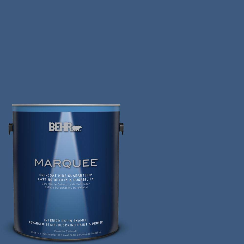 1 gal. #M520-7 Admiral Blue One-Coat Hide Satin Enamel Interior Paint