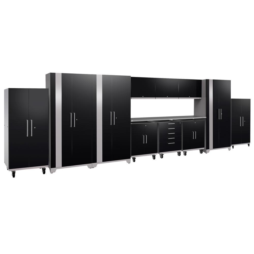Performance Plus 2.0 80 in. H x 253 in. W x 24 in. D Steel Garage Cabinet Set in Black (12-Piece)