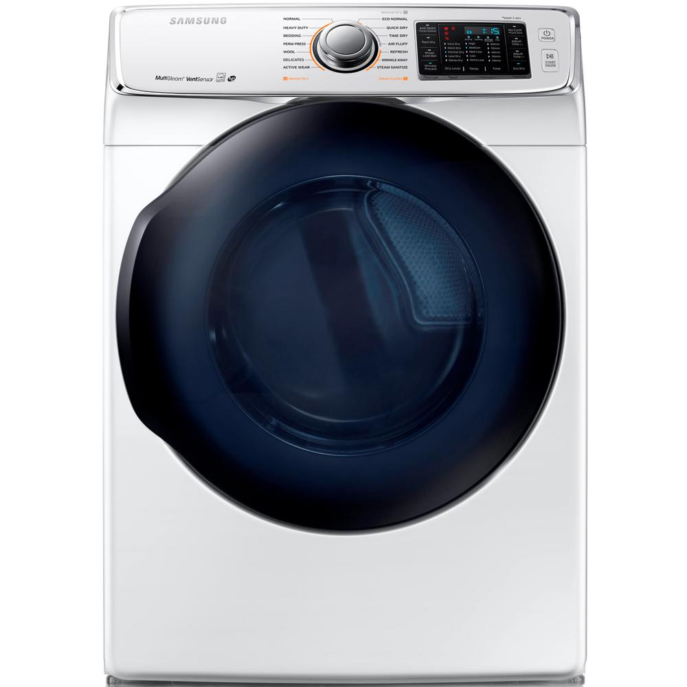 Samsung 7.5 cu. ft. Gas Dryer with Steam in White, Energy...