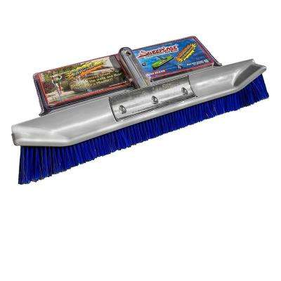 AquaDynamic 18 in. Pro Series Stainless Steel Poly Blend Pool Brush Patented Design Sticks to Walls for Faster Cleaning