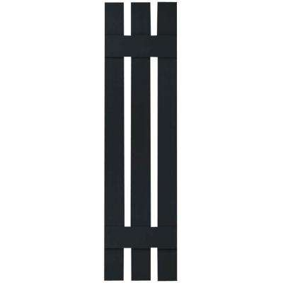 12 in. x 39 in. Lifetime Vinyl Standard Three Board Spaced Board and Batten Shutters Pair Black