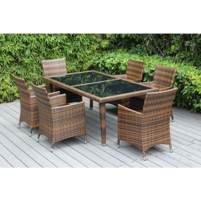 Mixed Brown 7-Piece Wicker Patio Dining Set with Supercrylic Brown Cushions