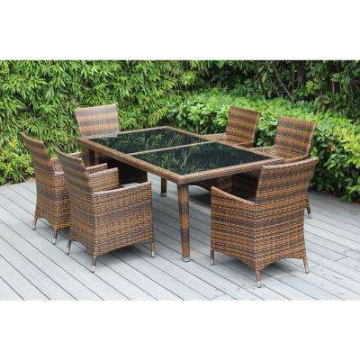 Mixed Brown 7-Piece Wicker Patio Dining Set with Spuncrylic Brown Cushions