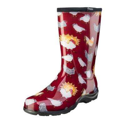 f23aa85f Size 10 Barn Red Chicken Print Women's Rain and Garden Boot
