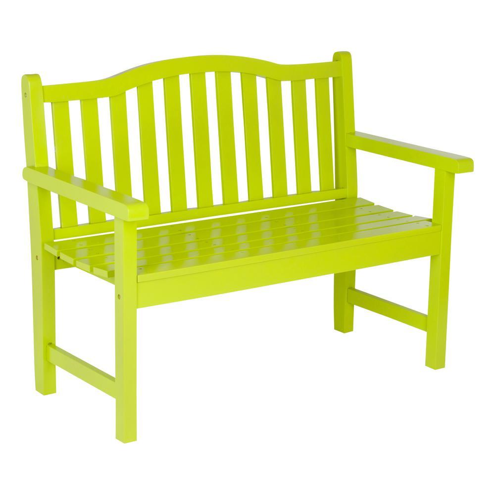Belfort Cedar Wood Outdoor Garden Bench 43.25 in. - Lime Green