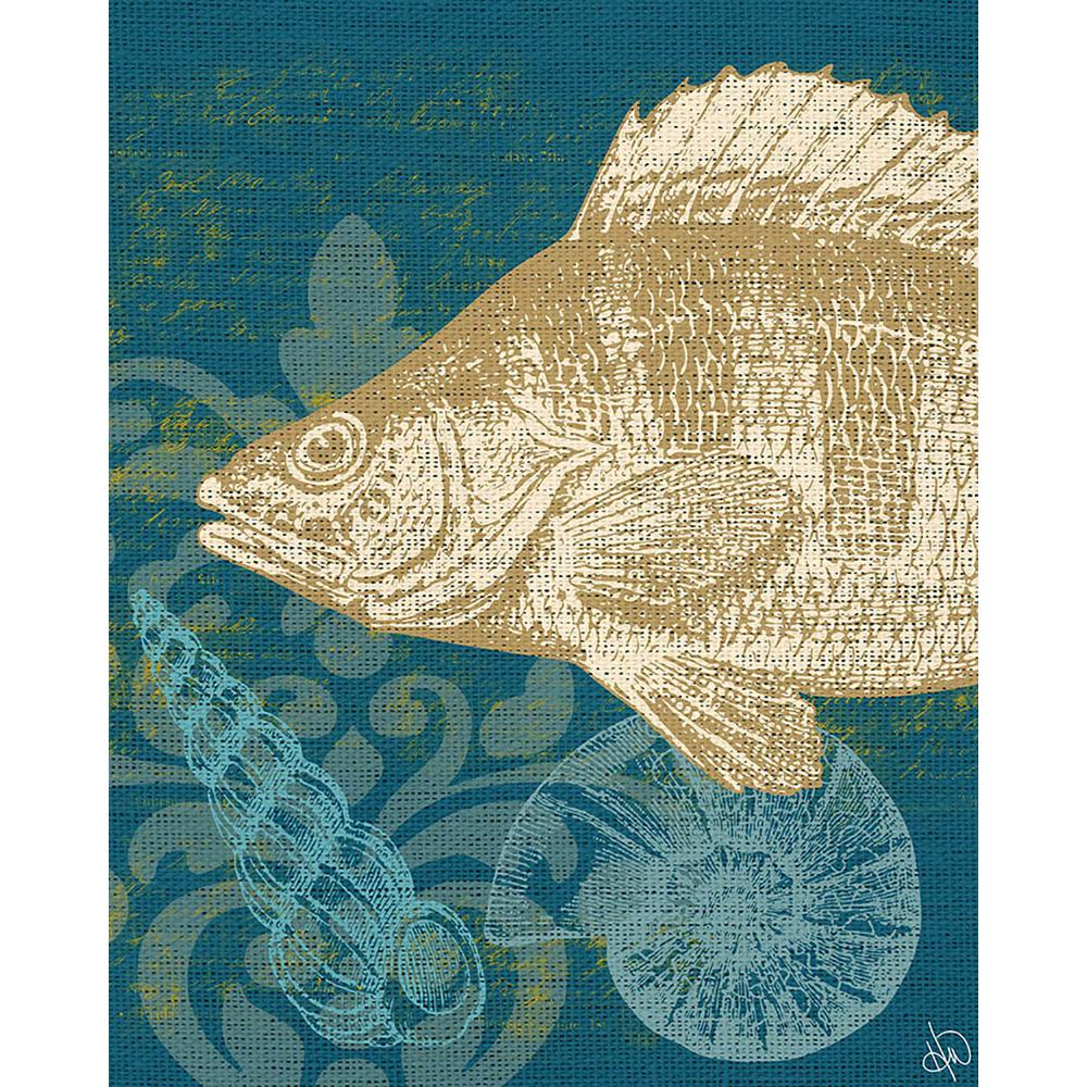 20 in. x 24 in. Damask Fish Green Wrapped Canvas Wall