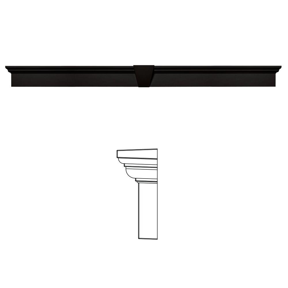 Builders Edge 6 in. x 73-5/8 in. Flat Panel Window Header with Keystone in 002 Black