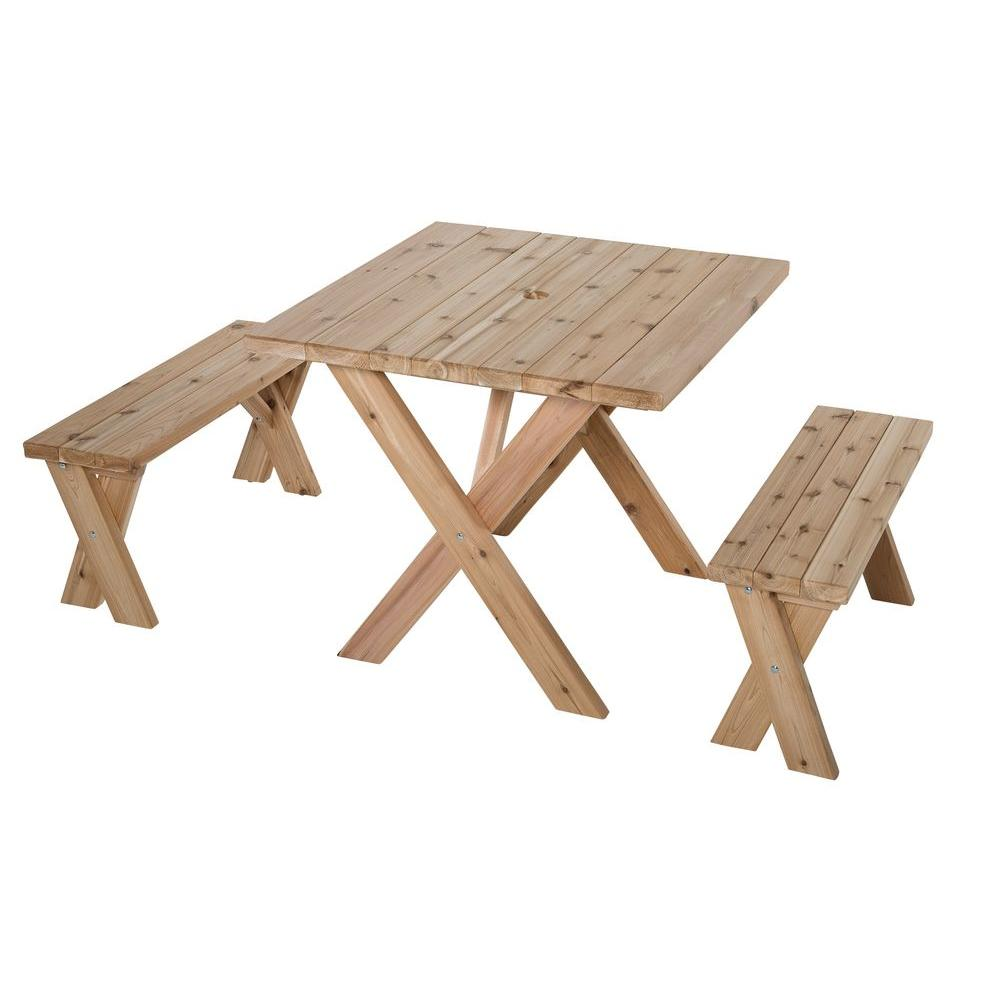 Jewett-Cameron Lumber Corp 35 in. L x 35 in. W x 30 in. H Cedar Patio Picnic Table with 2 Benches