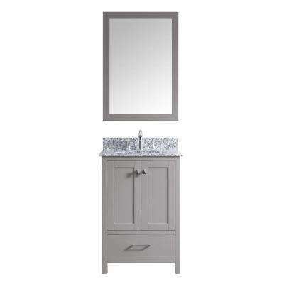 Caroline Madison 25 in. W Bath Vanity in C. Gray with Granite Vanity Top in Arctic White with Rnd. Basin and Mirror