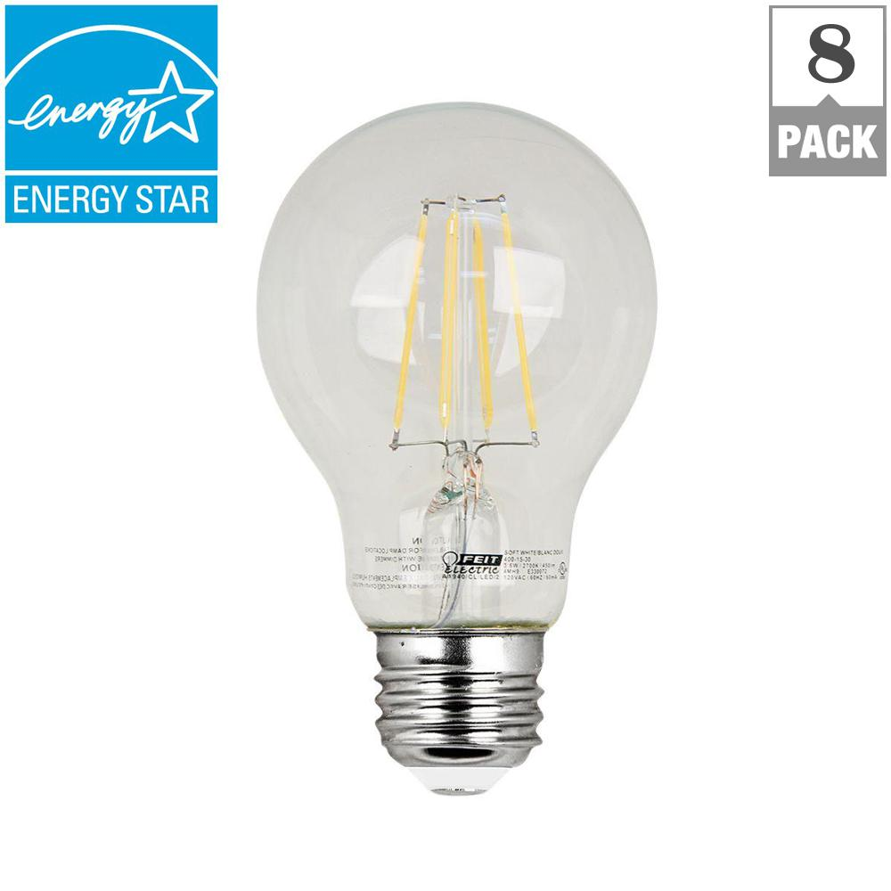 Feit Electric 40w Equivalent Soft White A19 Clear Filament: Feit Electric 60W Equivalent Soft White A19 Clear Filament