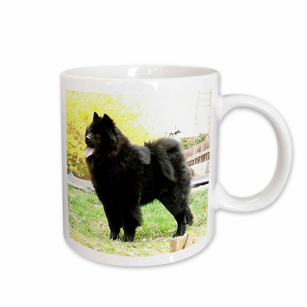 Dogs 11 oz. White Ceramic Black Chow Mug