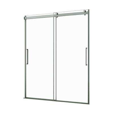Lagoon 48 in. W x 76 in. H Frameless Sliding Shower Door in Brushed Nickel with Vertical Handles