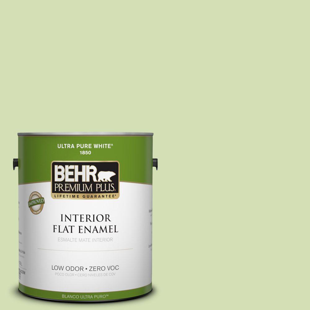 BEHR Premium Plus 1-gal. #420C-3 Celery Bunch Zero VOC Flat Enamel Interior Paint-DISCONTINUED