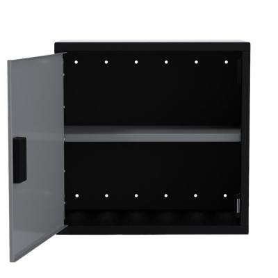 24 in. H x 24 in. W x 12 in. D Wall Cabinet 1-Door with 1-Adjustable Shelf in Black/Silver