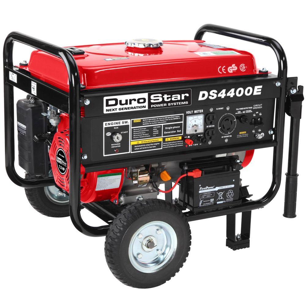 null 4,400-Watt Air Cooled OHV Gasoline Powered Electric Start Portable Generator with Wheel Kit