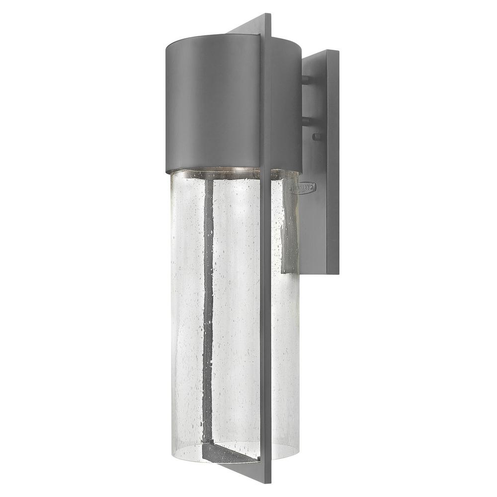 Hinkley Lighting Shelter 1-Light Hematite Outdoor Wall Lantern Sconce