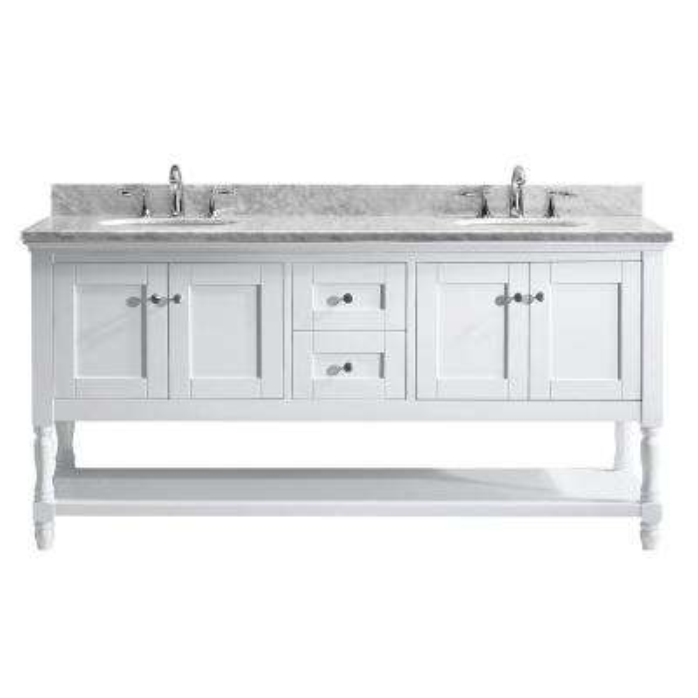 Julianna 72 in. W x 22 in. D Double Vanity in White with Marble Vanity Top in White with White Basin