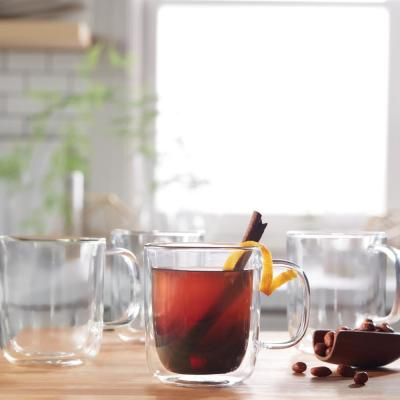 Classic 4-Piece Double Walled Glass with Handle Set