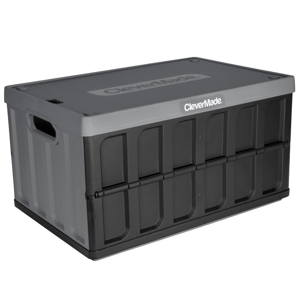 Unbranded Clevermade Collapsible Storage Crate With Lid 8034119 153 The Home Depot