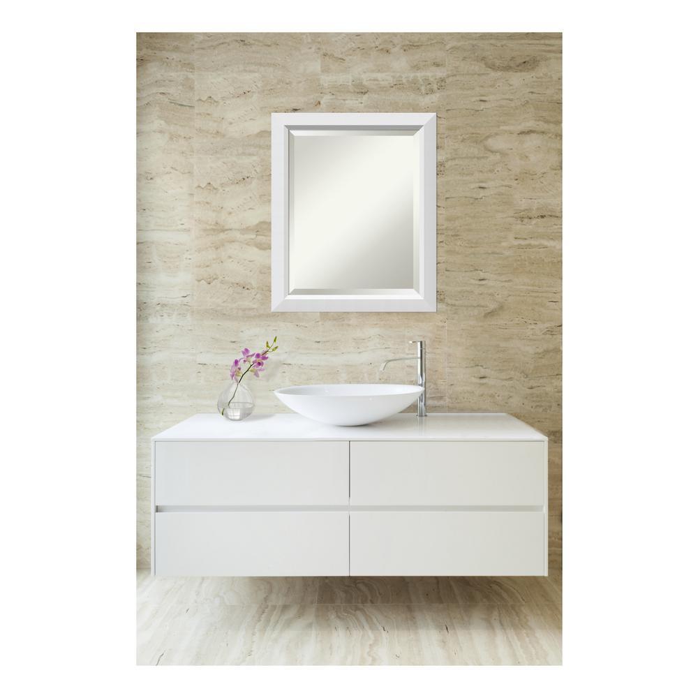Bathroom vanities madison wi - Amanti Art Blanco White Wood 19 In W X 23 In H Contemporary Bathroom Vanity Mirror Dsw3572109 The Home Depot